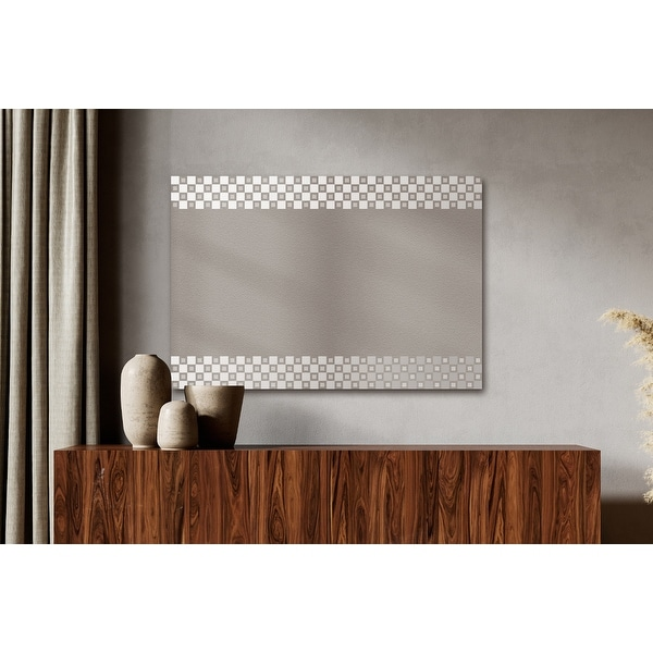Contemporary Rectangle Wall Mirror Checker Etched Boarder Framed Decorative Floating Mirror Hangs Vertically or Horizontally. Opens flyout.