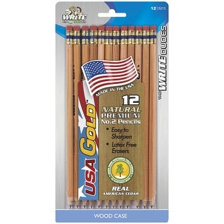 USA Gold No 2 Natural Woodcase Pencils, Presharpened, Pack of 12