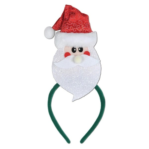 Pack of 12 Santa Claus Snap-on Christmas Headbands One Size Fits Most - WHITE
