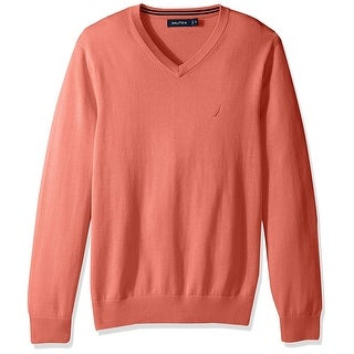 Nautica NEW Pale Coral Orange Mens Size XL Pullover V-Neck Sweater
