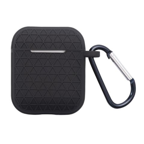 For Apple AirPods 1/AirPods 2 Black Skin Textured Case