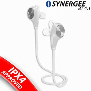 Synergee Sports Bluetooth Headphones V4.1 Wireless Noise Cancelling Headset In-Ear Running Sweatproof Earbuds With Mic (Option: White)