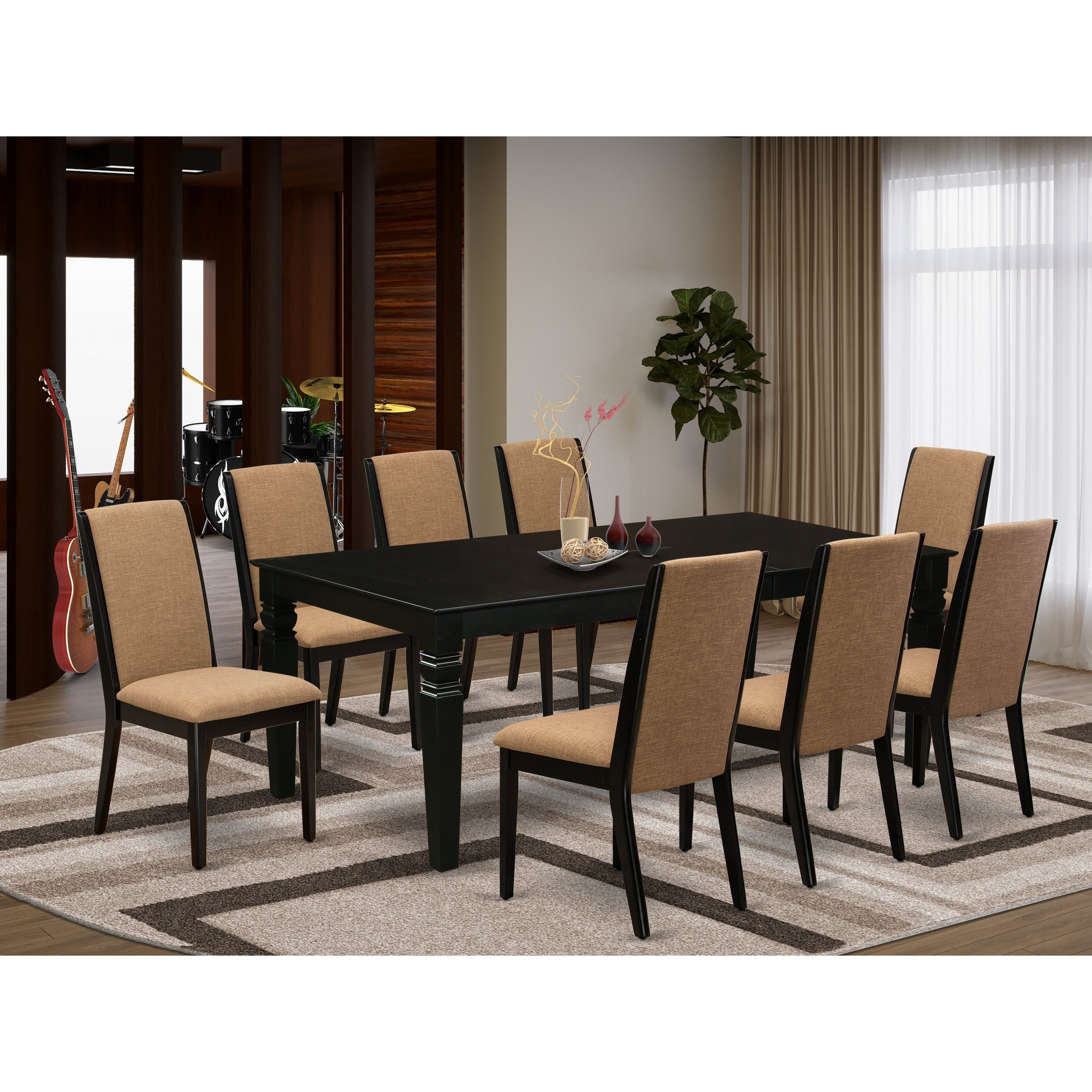 Picture of: Lgla9 Blk 47 9 Piece Kitchen Table Set 8 Person Dining Chairs And Butterfly Leaf Table High Back Black Finish Overstock 32085582 Grey