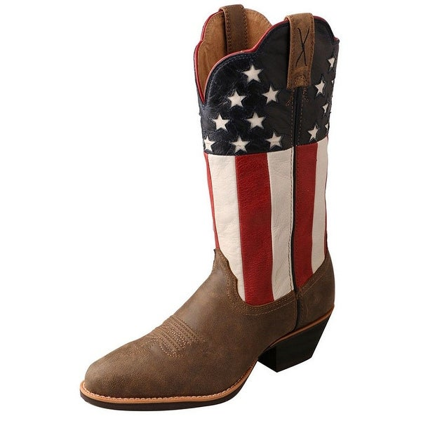 Twisted X Western Boots Womens Cowboy Leather Flag Bomber