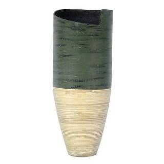"25"" Spun Bamboo Vase - Bamboo In Distressed Green & Natural Bamboo"