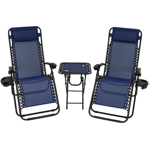Sunnydaze Zero Gravity Furniture, Choose 2 Chairs and 1 Side Table or Side Table ONLY