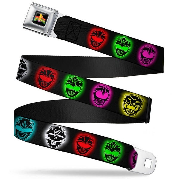 Power Rangers Logo Full Color Power Ranger Heads Black Multi Color Glow Seatbelt Belt