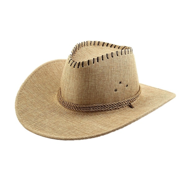 c4cbd9d3a60 Men Adjustable Neck Strap Wide Brim Western Style Sunhat Cowboy Hat Dark  Beige