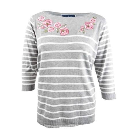 Karen Scott Women's Plus Embroidered Striped Sweater (2X, Grey Heather Combo) - Grey Heather Combo - 2X