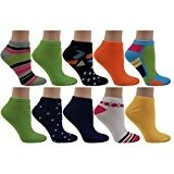 Women's 10 Pairs Colorful Patterned No-show Socks Size 9-11 (Assortment # 4)