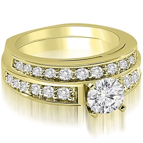 1.35 cttw. 14K Yellow Gold Round Cut Diamond Bridal Set