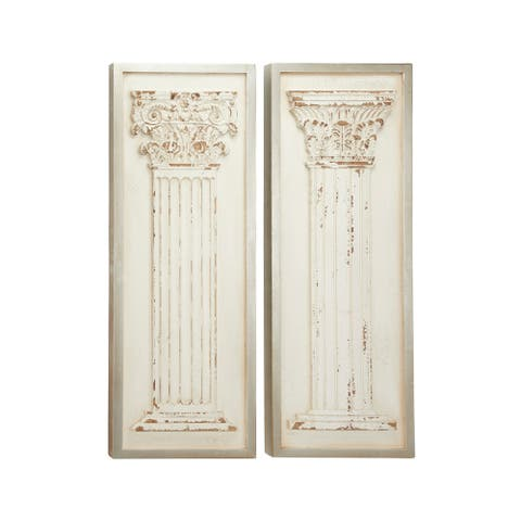 "Large Rectangular Distressed Antique White Wood Wall Decor with Carved Greek Columns Set of 2 16"" x 43"" Each"