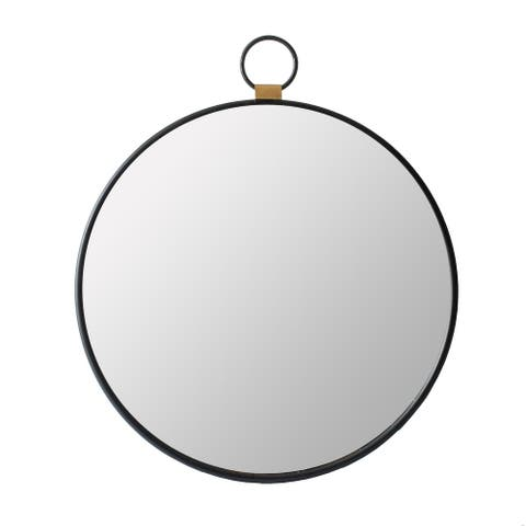 A&B Home Oval Round Stopwatch Wall Mirror with Single Loop and Wood Accent
