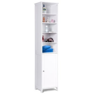 Costway 72u0026#x27;u0026#x27;H Bathroom Tall Floor Storage Cabinet Free