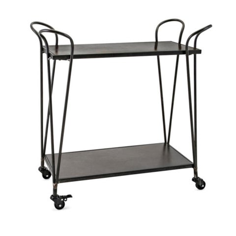 """31"""" Black and Bronze Rubbed Finish Industrial Inspired Bar Cart with Locking Casters"""