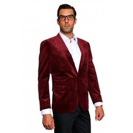 MZV-404 WINE Men's Manzini Velvet with Shawl Collar, sport coat