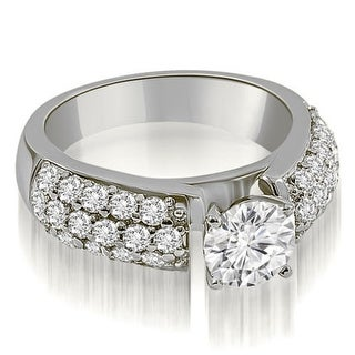 1 50 CT Three Row Prong Round Cut Diamond Engagement Ring In 14KT Gold White H I