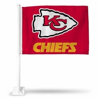 RicoIndustries FG2706 Kansas City Chiefs Arrowhead Car Flag - Red