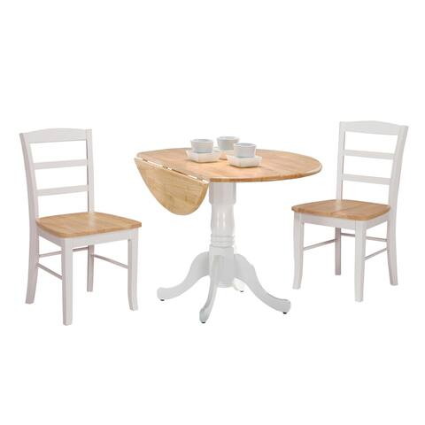 42-inch Dual Drop-leaf Pedestal 3-piece Dining Set