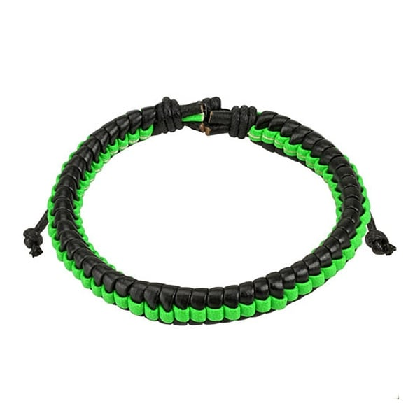 Black Leather Bracelet with Green Weaved Center Strip (10 mm) - 7.5 in