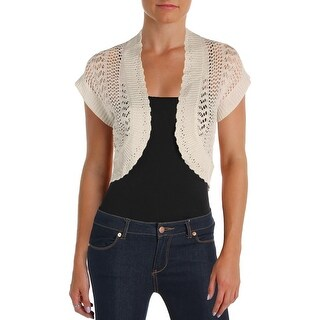 Signature By Robbie Bee Womens Petites Shrug Knit Open Front