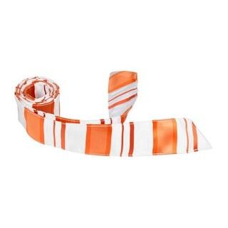 XO11 HT - 42 in. Child Matching Hair Tie - White With Orange Stripes
