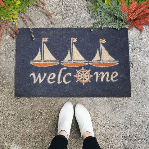"GAURI KOHLI Natural Coir Doormat Nautical Welcome Design (30"" X 18"")"