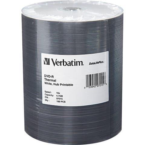 Verbatim 97015 Verbatim DVD-R 4.7GB 16X DataLifePlus White Thermal Printable, Hub Printable - 100Pk Tape Wrap - Thermal