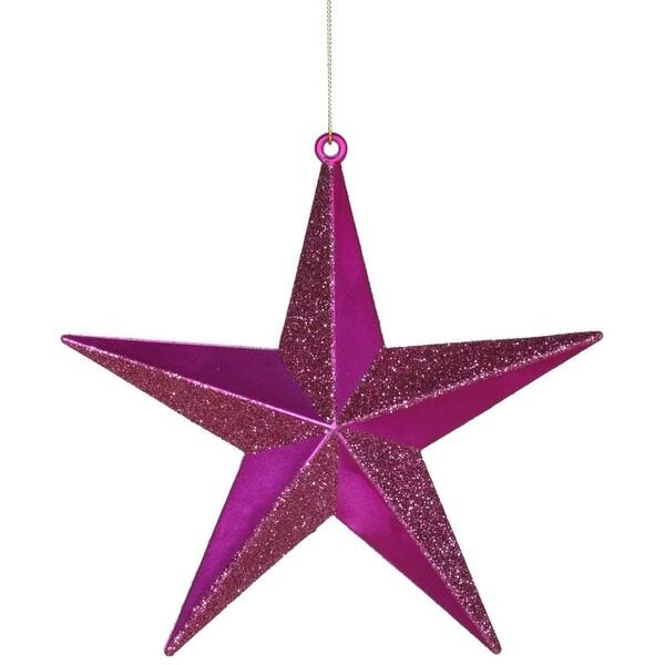 "Cerise Pink Matte & Glitter Shatterproof Star Christmas Ornament 6"""