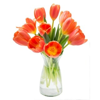 KaBloom - Splendid Tulip Collection - 10 Orange Tulips with Vase