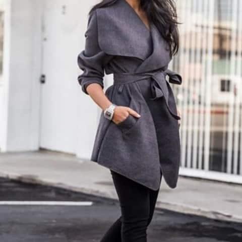 Women's Coats Turn Down Shawl Collar Earth Tone Check Jacket