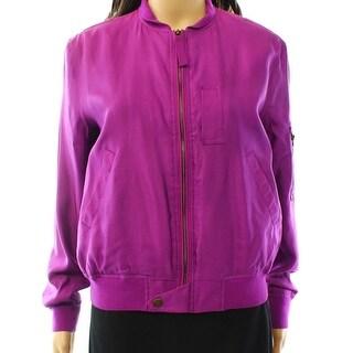 Lauren by Ralph Lauren NEW Purple Women's Size 4 Bomber Jacket Silk