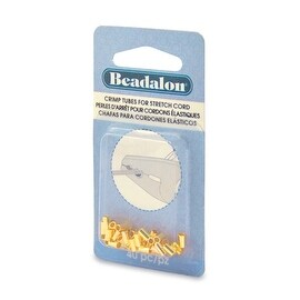 Beadalon Crimp Tubes, for 1mm Rubber Stretch Cords, 40 Pieces, Gold Plated