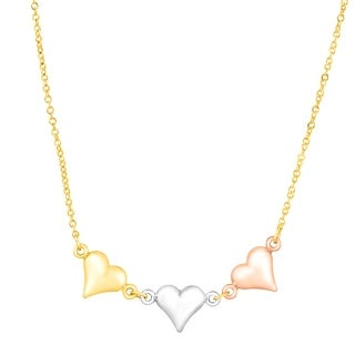 Just Gold Linked Heart Necklace in 14K Three-Tone Gold
