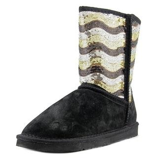 Lamo Stripy Women Round Toe Suede Black Winter Boot
