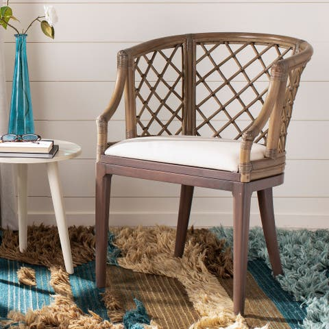 "SAFAVIEH Carlotta Rattan Lattice Arm Chair - 22.3"" W x 23"" L x 31.3"" H"