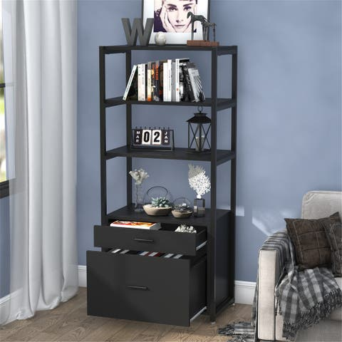 4-Tier Bookcase Bookshelf, File Cabinet with 2 Drawers