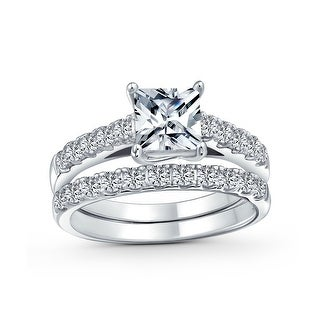 Link to 1CT Princess Cut Solitaire AAA CZ Engagement Ring Set Sterling Silver Similar Items in Rings