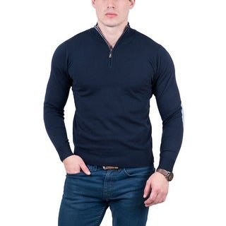 Real Cashmere Dark Blue Half Zip Fine Cashmere Blend Mens Sweater