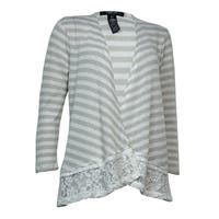Style & Co. Women's Lace Trim Open Cardigan Sweater - stonewall/white