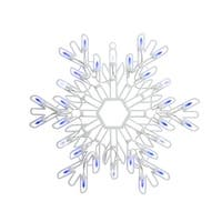 """15"""" LED Lighted Pure White and Blue Snowflake Christmas Window Silhouette"""