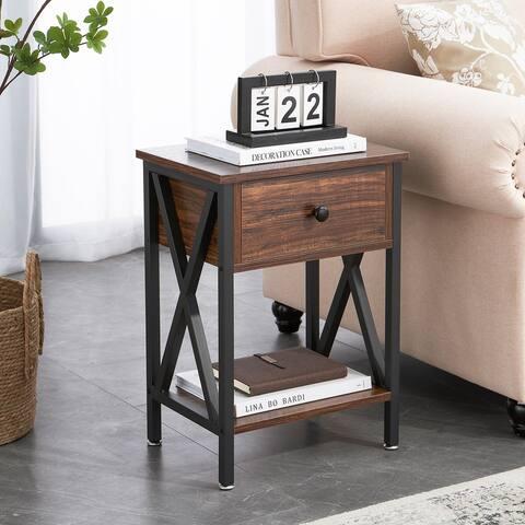 VECELO Versatile Modern Nightstands X-Design Storage Shelf with 1-Drawer