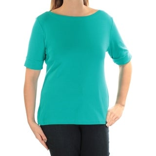 Womens Teal Cuffed Jewel Neck Casual Top Size L