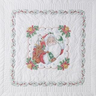"Stamped Cross Stitch Lap Quilt 45""X45""-Santa"
