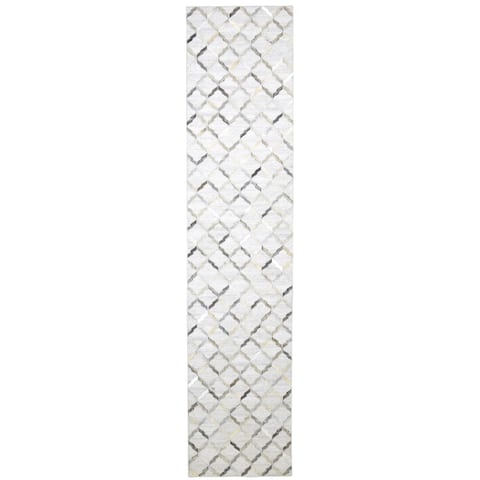 """One of a Kind Hand-Woven Modern & Contemporary 12' Runner Geometric Leather Grey Rug - 2'5""""x12'0"""""""