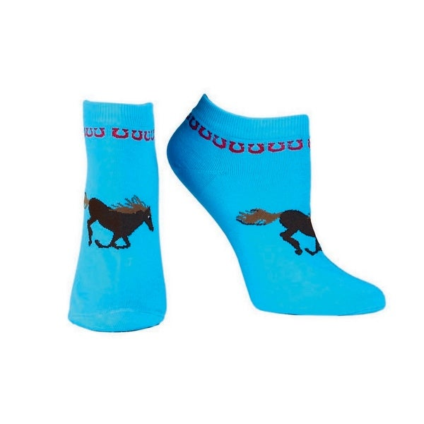 Ariat Socks Womens Western Spirit Horse No Show Blue Black