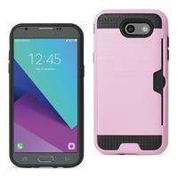Reiko Samsung Galaxy J3 Emerge Slim Armor Hybrid Case With Card Holder In Pink