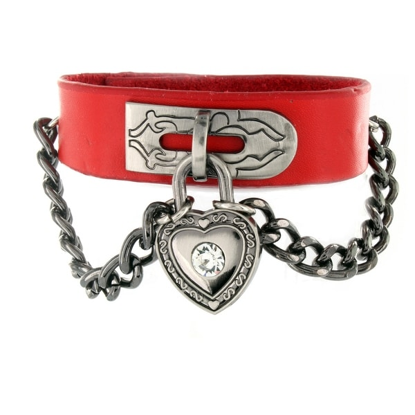 Red Leather Bracelet with Chain Linked CZ Heart Lock Charm (18 mm) - 7 in
