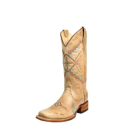 Circle G Western Boots Womens Square Toe Embroidered Bone