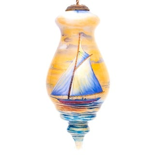 """Link to 5"""" Blue and Yellow Sailing Boat Hand Painted Spire Shaped Mouth Blown Glass Hanging Christmas Ornament Similar Items in Christmas Decorations"""